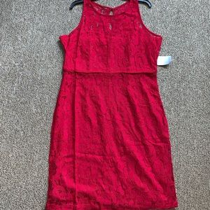Marina Red Lace Sheath Dress
